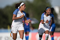 Bradenton, FL - Sunday, June 10, 2018: Mia Fishel, goal celebration, Samantha Meza prior to a U-17 Women's Championship match between the United States and Haiti at IMG Academy.  USA defeated Haiti 3-2 to advance to the finals.