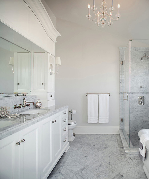 This custom bathroom features Grace, a handmade mosaic shown in Calacatta Tia from the Ann Sacks Beau Monde collection sold exclusively at www.annsacks.com<br /> -photo courtesy of Model Design, Inc