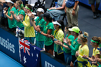 9th November 2019; RAC Arena, Perth, Western Australia, Australia; Fed Cup by BNP Paribas Tennis Final, Day 1, Australia versus France; Australian team mates applaud Ash Bartys win in the second rubber