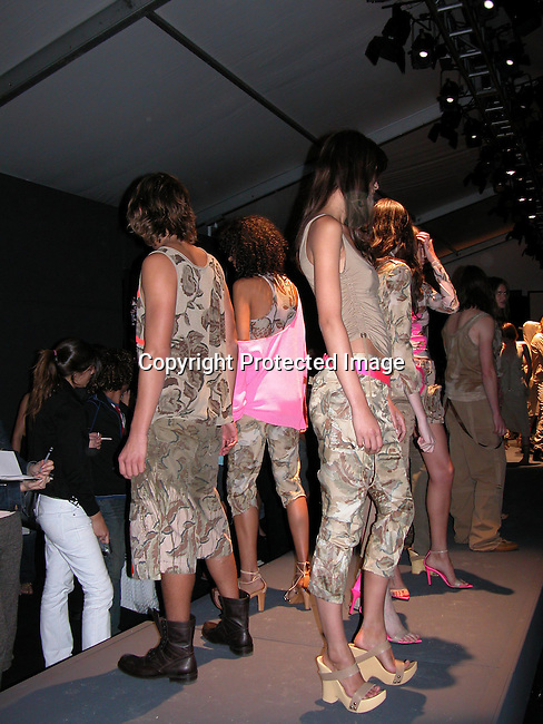 Model wearing GF Ferre Spring 2004 Collection<br />GF Ferre Fashion Show Runway<br />The Bryant Tent, Bryant Park<br />New York City, NY, USA<br />Friday, September, 12, 2003<br />Photo By Celebrityvibe.com/Photovibe.com