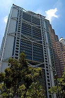 Skyscraper designed by British architect Norman Foster, Hong Kong Island, Hong Kong, China.