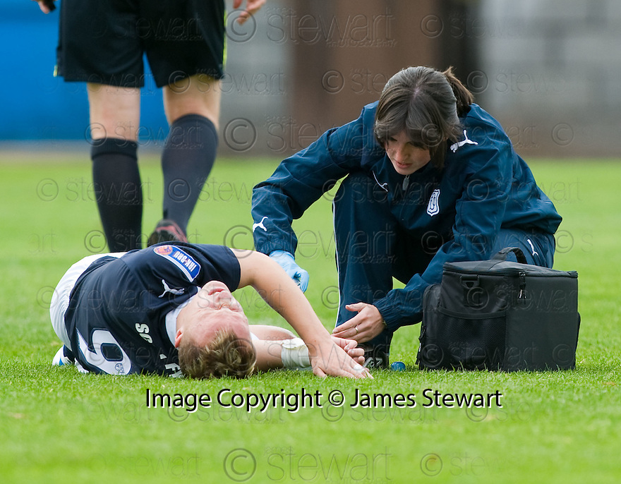 16/10/2010   Copyright  Pic : James Stewart.sct_jsp027_stirling_v_dundee  .:: A WORRYING TIME AS PRIZE ASSEST LEIGH GRIFFITHS GOES DOWN INJURED ::  .James Stewart Photography 19 Carronlea Drive, Falkirk. FK2 8DN      Vat Reg No. 607 6932 25.Telephone      : +44 (0)1324 570291 .Mobile              : +44 (0)7721 416997.E-mail  :  jim@jspa.co.uk.If you require further information then contact Jim Stewart on any of the numbers above.........