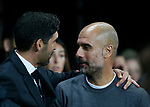 Paulo Fonseca manager of Shaktar Donetsk greeted by Josep Guardiola manager of Manchester City during the Champions League Group F match at the Emirates Stadium, Manchester. Picture date: September 26th 2017. Picture credit should read: Andrew Yates/Sportimage