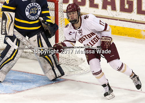 Delaney Belinskas (BC - 17) - The number one seeded Boston College Eagles defeated the eight seeded Merrimack College Warriors 1-0 to sweep their Hockey East quarterfinal series on Friday, February 24, 2017, at Kelley Rink in Conte Forum in Chestnut Hill, Massachusetts.The number one seeded Boston College Eagles defeated the eight seeded Merrimack College Warriors 1-0 to sweep their Hockey East quarterfinal series on Friday, February 24, 2017, at Kelley Rink in Conte Forum in Chestnut Hill, Massachusetts.