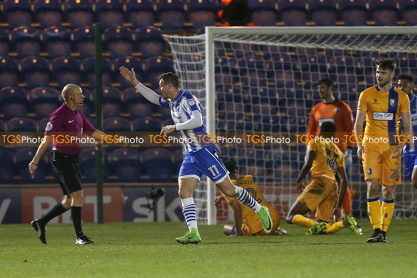 Ben Dickenson of Colchester United scores the first goal for his team and celebrates during Colchester United vs Mansfield Town, Sky Bet EFL League 2 Football at the Weston Homes Community Stadium on 14th March 2017