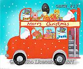 Kate, CHRISTMAS SANTA, SNOWMAN, WEIHNACHTSMÄNNER, SCHNEEMÄNNER, PAPÁ NOEL, MUÑECOS DE NIEVE, paintings+++++Santa on bus 2,GBKM417,#x# ,bus
