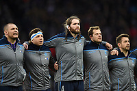 Ben Toolis of Scotland sings the national anthem. Guinness Six Nations match between England and Scotland on March 16, 2019 at Twickenham Stadium in London, England. Photo by: Patrick Khachfe / Onside Images