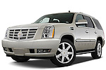Low aggressive front three quarter view of a 2009 Cadillac Escalade Hybrid.