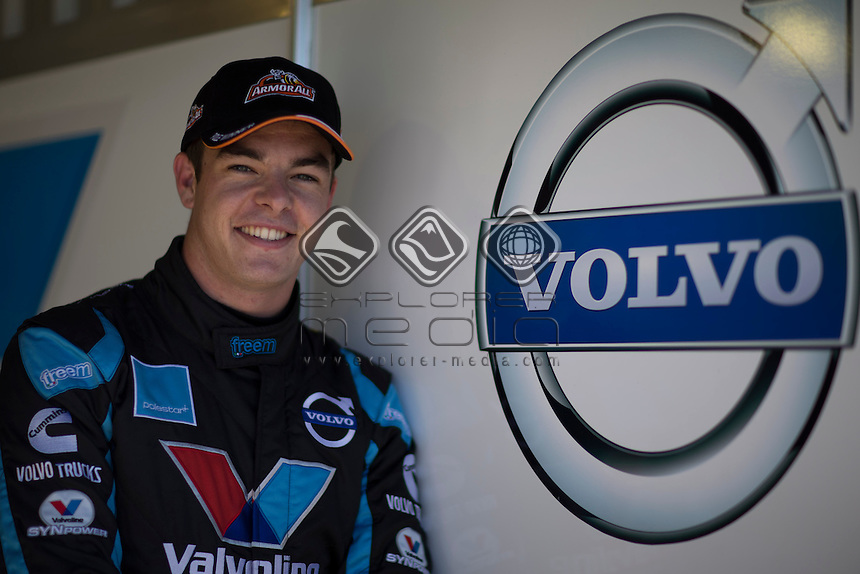 Scott McLaughlin of Valvoline Racing GRM flames his first career pole and Volvos first during the Winton 400, Event 03 of the 2014 Australian V8 Supercars Championship Series at the Winton Motor Raceway, Winton, Victoria, April 06, 2014.<br /> &copy; Sport the library / Mark Horsburgh