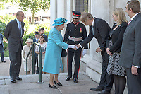 15 June 2017 - London, England - Queen Elizabeth II and Prince Philip, Duke of Edinburgh attending a Memorial Service held at All Saints Church in Poplar, East London, Commemorating the 100th anniversary of the bombing of Upper North Street School in June 1917. Photo Credit: Alpha Press/AdMedia