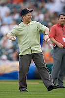 Michigan State head men's basketball coach Tom Izzo throws out the first pitch prior to the game between the New York Yankees and the Detroit Tigers at Comerica Park April 27, 2009 in Detroit, Michigan.  Photo by Brian Westerholt / Four Seam Images