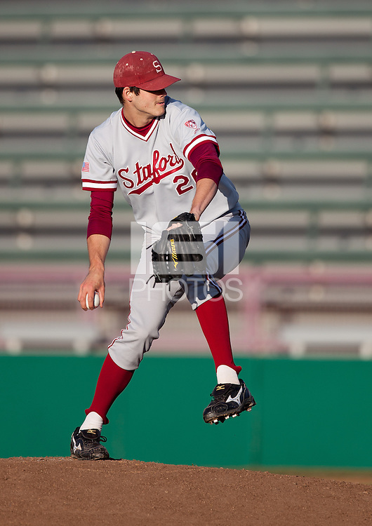 LOS ANGELES, CA - April 8, 2011: Mark Appel of Stanford baseball pitches during Stanford's game against USC at Dedeaux Field. Stanford won 8-1. Appel threw a four hit complete game.