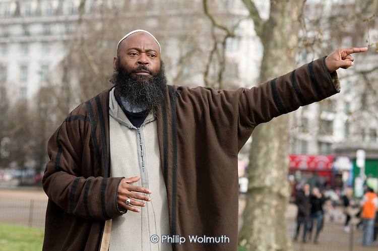 A Muslim preacher at Speakers Corner, London