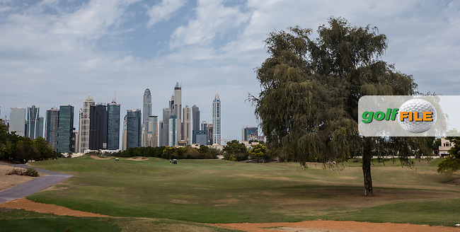 1st fairway at The Address Montgomerie Golf Club, Dubai, United Arab Emirates.  27/01/2016. Picture: Golffile | David Lloyd<br /> <br /> All photos usage must carry mandatory copyright credit (&copy; Golffile | David Lloyd)