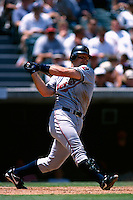 Jim Thome of the Cleveland Indians plays in a baseball game at Edison International Field during the 1998 season in Anaheim, California. (Larry Goren/Four Seam Images)