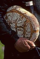 Europe/France/Auvergne/15/Cantal/Parc Naturel Régional des Volcans/Env de Cheylade:Agriculteur rentrant à la feme avec sa tourte de pain de seigle sous le bras<br /> PHOTO D'ARCHIVES // ARCHIVAL IMAGES<br /> FRANCE 1980