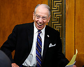 Senate Judiciary Committee Chairman Chuck Grassley, R-Iowa, smiles during Senate Judiciary Committee on Capitol Hill in Washington, Thursday, Sept. 27, 2018. (AP Photo/Andrew Harnik, Pool)