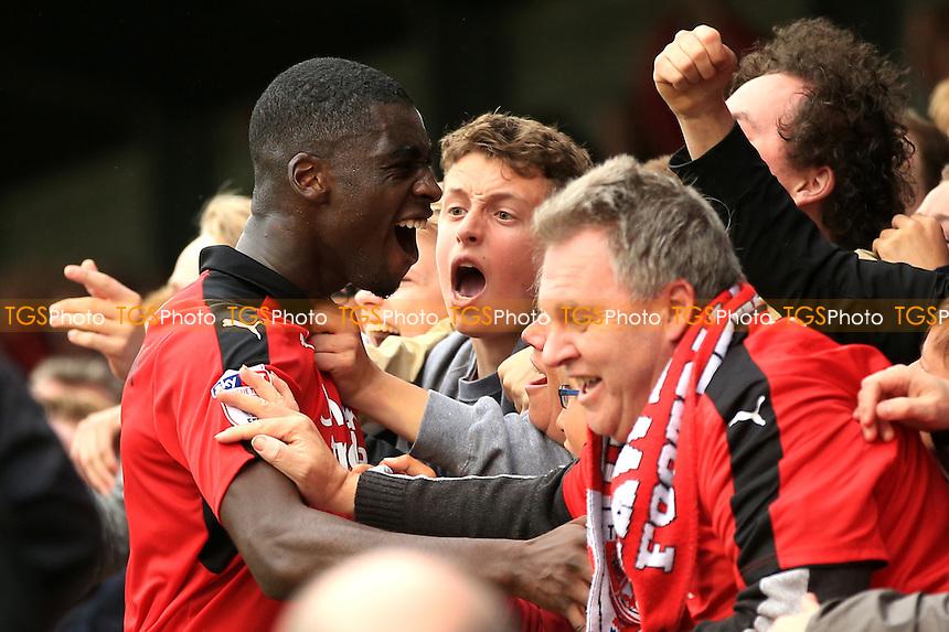 Enzio Boldewijn of Crawley Town celebrates scoring with the Crawley Town fans during Crawley Town vs Luton Town, Sky Bet EFL League 2 Football at Broadfield Stadium on 17th September 2016