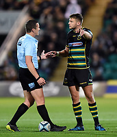 Dan Biggar of Northampton Saints speaks with referee Tom Foley. Gallagher Premiership match, between Northampton Saints and Harlequins on September 7, 2018 at Franklin's Gardens in Northampton, England. Photo by: Patrick Khachfe / JMP