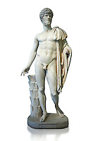 Roman staue of Lucius Verus with the idealised body of Diomedes, AD 160-170, inv 6095, Naples National Archaeological Museum, white background