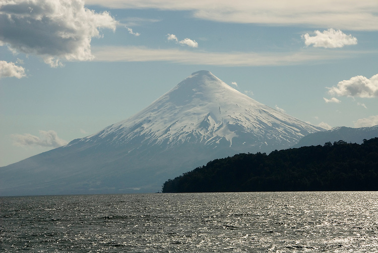 Chile, Lake Country: View of Osorno Volcano while riding across Lake Todos Los Santos..Photo #: ch629-33955..Photo copyright Lee Foster www.fostertravel.com, lee@fostertravel.com, 510-549-2202.