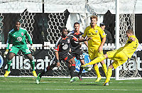 Josh Williams (3) of the Columbus Crew kicks a shot on goal. The Columbus Crew defeated D.C. United 2-1 ,at RFK Stadium, Saturday March 23,2013.