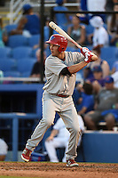Clearwater Threshers third baseman Mitch Walding (10) at bat during a game against the Dunedin Blue Jays on April 10, 2015 at Florida Auto Exchange Stadium in Dunedin, Florida.  Clearwater defeated Dunedin 2-0.  (Mike Janes/Four Seam Images)