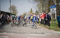 Iljo KEISSE (BEL/Deceuninck-Quick Step) leading the peloton exiting the Holle Weg cobbled section<br /> <br /> 103rd Ronde van Vlaanderen 2019<br /> One day race from Antwerp to Oudenaarde (BEL/270km)<br /> <br /> ©kramon