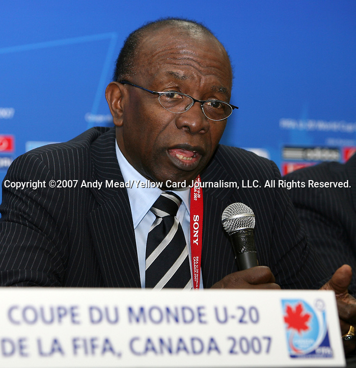 30 June 2007: Jack Warner, of Trinidad & Tobago, FIFA Vice-President and President of CONCACAF and the U-20 World Cup. At Le Stade Olympique in Montreal, Quebec, Canada. Poland's Under-20 Men's National Team defeated Brazil's Under-20 Men's National Team 1-0 in a Group D opening round match during the FIFA U-20 World Cup Canada 2007 tournament.