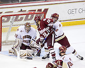 Parker Milner (BC - 35), Will Ortiz (UMass - 10), Patrick Wey (BC - 6) - The Boston College Eagles defeated the University of Massachusetts-Amherst Minutemen 6-5 on Friday, March 12, 2010, in the opening game of their Hockey East Quarterfinal matchup at Conte Forum in Chestnut Hill, Massachusetts.