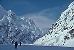 Alaska, Denali National Park, telemark skiers, skiing, Don Sheldon Ampitheater, West arm of the Ruth Glacier, Alaska Range, U.S.A., North America