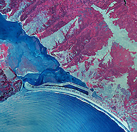 historical infrared aerial photograph of of Stinson Beach, Bolinas and the Bolinas Bay and Bolinas Lagoon, Marin County, California, 1987