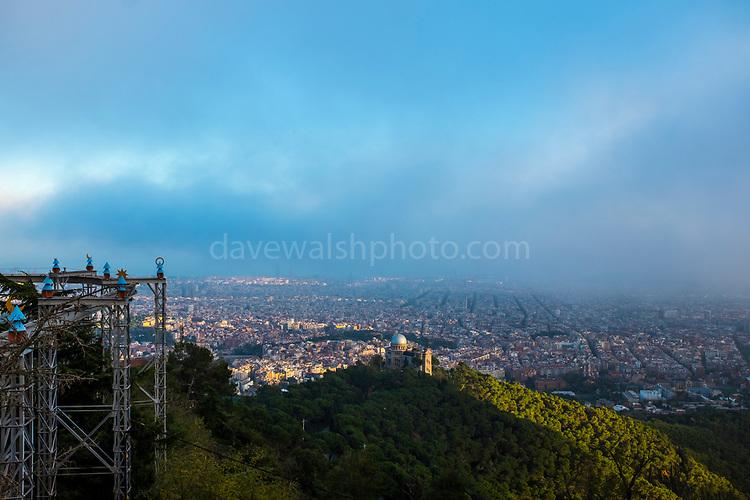 The view over Barcelona from Tibidabo, Barcelona