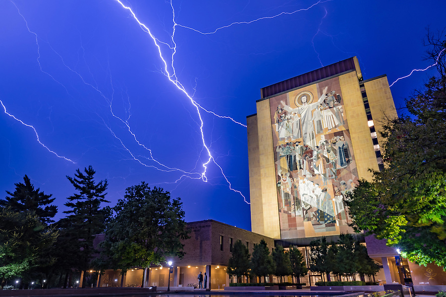 July 23, 2016; Lightning over Hesburgh Library. (Photo by Matt Cashore/University of Notre Dame)