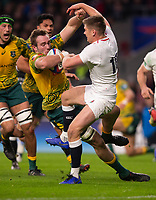 Australia's Izack Rodda is tackled by England's Owen Farrell<br /> <br /> Photographer Bob Bradford/CameraSport<br /> <br /> 2018 Quilter Internationals - England v Australia - Saturday 24th November 2018 - Twickenham - London<br /> <br /> World Copyright &copy; 2018 CameraSport. All rights reserved. 43 Linden Ave. Countesthorpe. Leicester. England. LE8 5PG - Tel: +44 (0) 116 277 4147 - admin@camerasport.com - www.camerasport.com