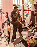 May 19, 2018. Durham, North Carolina.<br /> <br /> Moses Sumney plays the Cage at the American Tobacco Campus. <br /> <br /> Moogfest 2018 showcases 4 days of music, art and technology spread out amongst venues in and around downtown Durham.