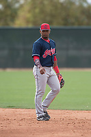 Cleveland Indians second baseman Erlin Cerda (2) during a Minor League Spring Training game against the Chicago White Sox at Camelback Ranch on March 16, 2018 in Glendale, Arizona. (Zachary Lucy/Four Seam Images)