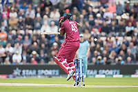 Chris Gayle (West Indies) fends off a short quick delivery from Jofra Archer (England) during England vs West Indies, ICC World Cup Cricket at the Hampshire Bowl on 14th June 2019