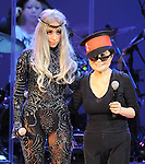 Yoko Ono and Lady Gaga performs with We are Plastic Ono Band on night 2 at The Orpheum Theatre in Downtown Los Angeles, California on October 02,2010                                                                   Copyright 2010  Debbie VanStory / RockinExposures