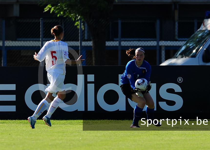 European Women's Under - 19 Championship 2011 Italy :.Switzerland - Belgium U19 : Quirina D'Haeseleir.foto DAVID CATRY / VROUWENTEAM.BE