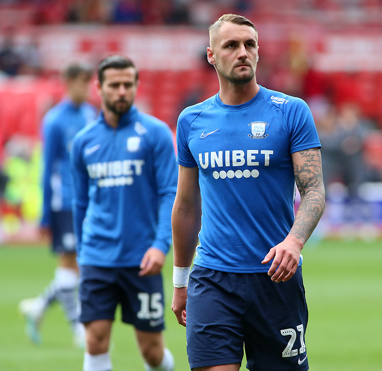 Preston North End's Patrick Bauer during the pre-match warm-up <br /> <br /> Photographer David Shipman/CameraSport<br /> <br /> The EFL Sky Bet Championship - Nottingham Forest v Preston North End - Saturday 31st August 2019 - The City Ground - Nottingham<br /> <br /> World Copyright © 2019 CameraSport. All rights reserved. 43 Linden Ave. Countesthorpe. Leicester. England. LE8 5PG - Tel: +44 (0) 116 277 4147 - admin@camerasport.com - www.camerasport.com