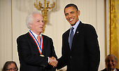 United States President Barack Obama awards Stanley B. Prusiner from University of California San Francisco, the National Medal of Science and the National Medal of Technology and Innovation in the East Room of the White House, Wednesday, November 17, 2010 in Washington, DC. .Credit: Olivier Douliery / Pool via CNP