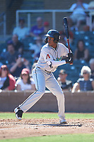 Salt River Rafters Geraldo Perdomo (7), of the Arizona Diamondbacks organization, at bat during the Arizona Fall League Championship Game against the Surprise Saguaros on October 26, 2019 at Salt River Fields at Talking Stick in Scottsdale, Arizona. The Rafters defeated the Saguaros 5-1. (Zachary Lucy/Four Seam Images)