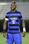 30 August 2013: Duke's Sebastien Ibeagha. The Duke University Blue Devils hosted the Rutgers University Scarlet Knights at Koskinen Stadium in Durham, NC in a 2013 NCAA Division I Men's Soccer match. The game ended in a 1-1 tie after two overtimes.