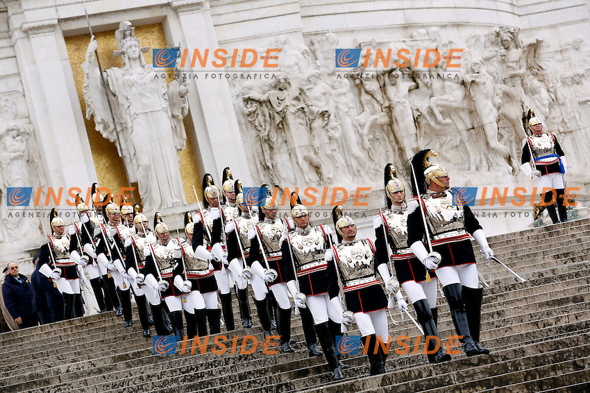 Corazzieri<br /> Roma 17-03-2015 Altare della Patria. Deposizione di una corona di fiori per la festa dell'Unita' Nazionale.<br /> Photo Samantha Zucchi Insidefoto