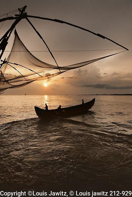 India, Kochi ,Cochin The Chinese fishing nets , Cheena vala ,near Fort Kochi outside jew town,tough by Chinese explorer Zheng He to india fisherman