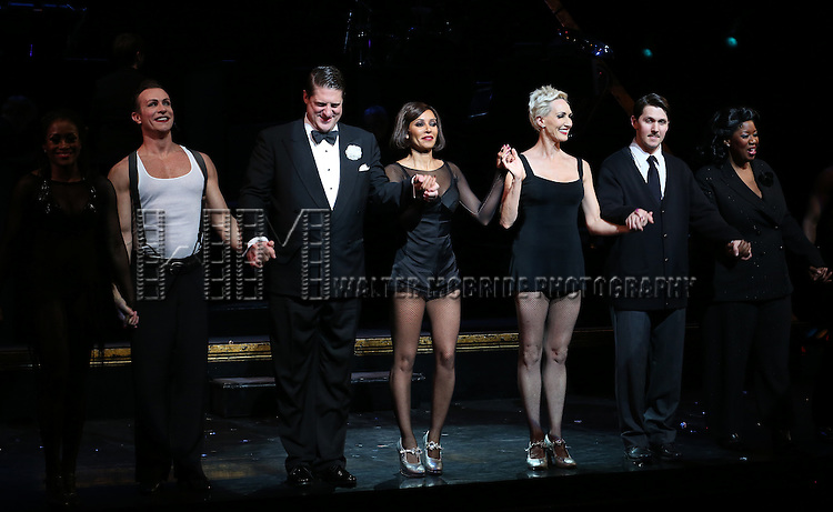 Christopher Sieber, Mel B, Amra-Faye Wright, Denny Paschall, NaTasha Yvette Williams with cast during their Curtain Call Bows in Broadway's 'Chicago' at  the Ambassador Theatre in New York City.