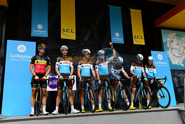 AG2R La Mondiale introduced on stage at sign on before Stage 1 of the 2018 Criterium du Dauphine 2018 running 179km from Valence to Saint-Just-Saint-Rambert, France. 4th June 2018.<br /> Picture: ASO/Alex Broadway | Cyclefile<br /> <br /> <br /> All photos usage must carry mandatory copyright credit (© Cyclefile | ASO/Alex Broadway)