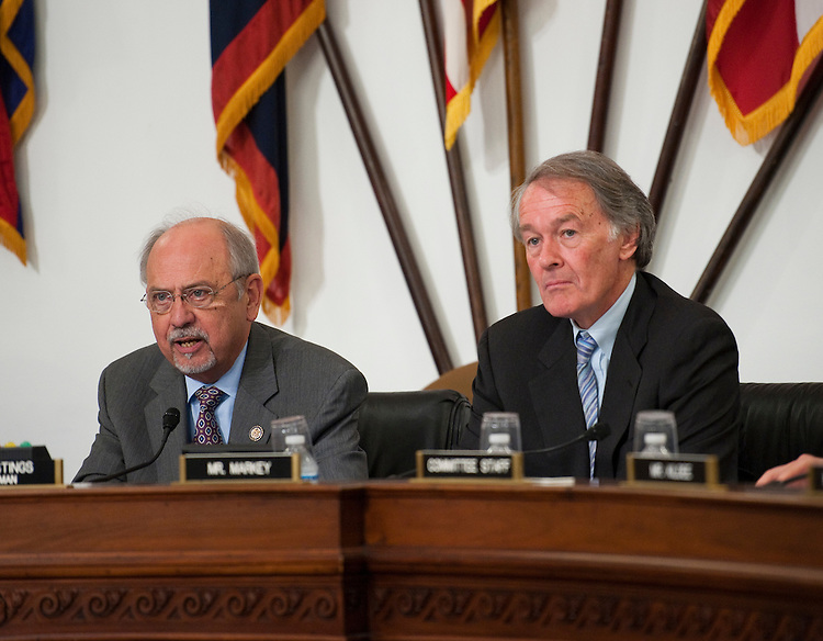"WASHINGTON, DC - June 01: Chairman Doc Hastings, R-Wash., and ranking member Edward J. Markey, D-Mass., during the  House Natural Resources hearing on ""Identifying Roadblocks to Wind and Solar Energy on Public Lands and Waters."" (Photo by Scott J. Ferrell/Congressional Quarterly)"