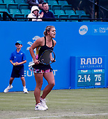June 12th 2017,  Nottingham, England; WTA Aegon Nottingham Open Tennis Tournament day 3; Qualifier Jana Fett of Croatia celebrates beating 7th seed  Mona Barthel of Germany 6-3 5-7 7-5; Fett saved 3 match points before winning